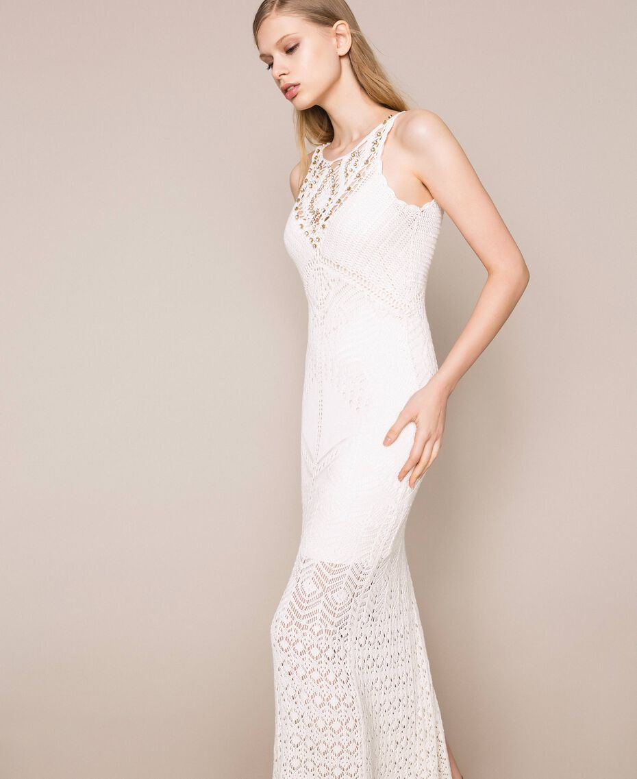 Long dress with crochet details and embroideries White Snow Woman 201TT3150-03