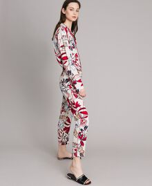 Pantaloni in crêpe con stampa a fiori Stampa Esotica Ecrù Donna 191ST2231-01
