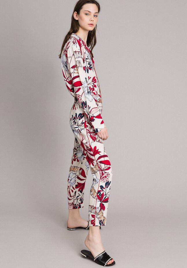 Pantalon en crêpe à imprimé floral