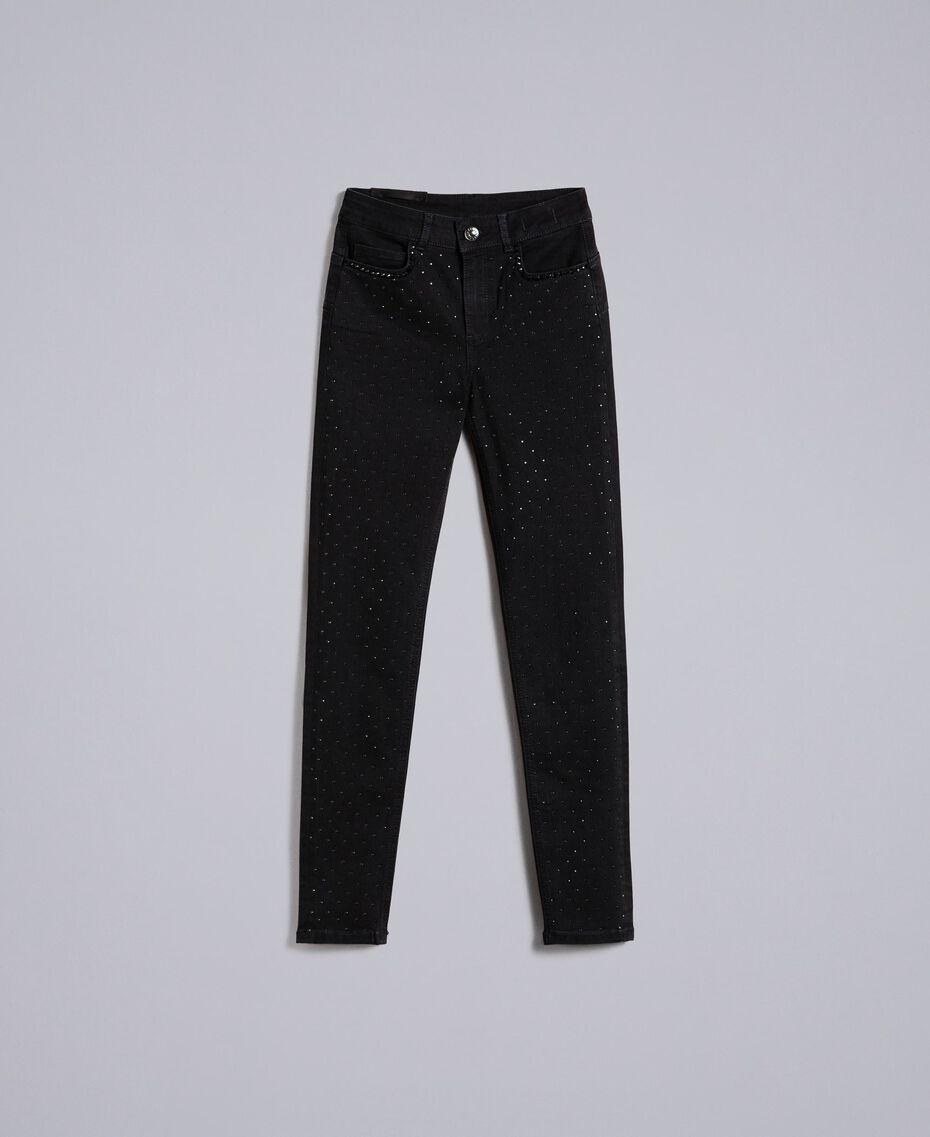 Jeans skinny in denim nero con strass Denim Nero Donna JA82R2-0S
