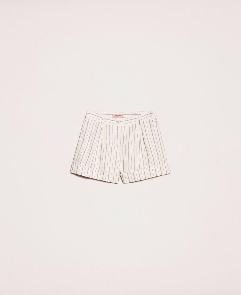 Short en lin rayé Rayé Blanc Antique / Bleu Femme 201TT2301-0S