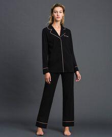 Pyjama long avec bords contrastés Noir Femme 192LL2DMM-02
