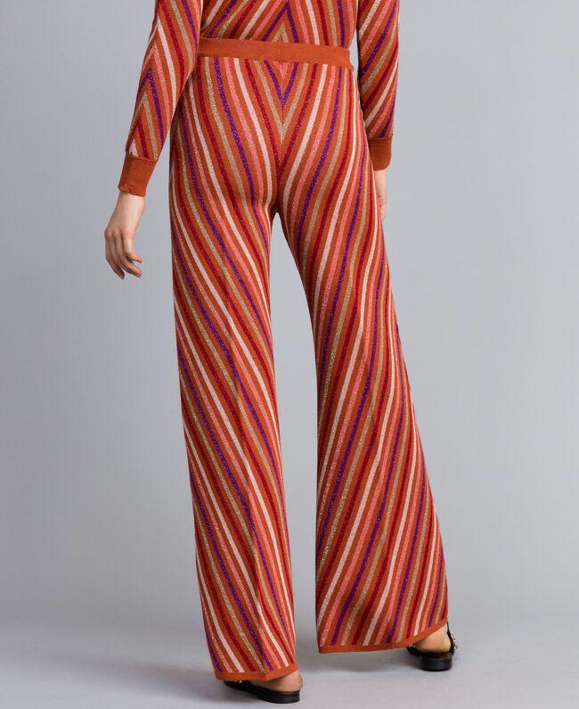 "Hose aus Lurexjacquard mit mehrfarbigem Streifenmuster Jacquard ""Gebranntes"" Orange / Lurexstreifen Frau TA838A-03"