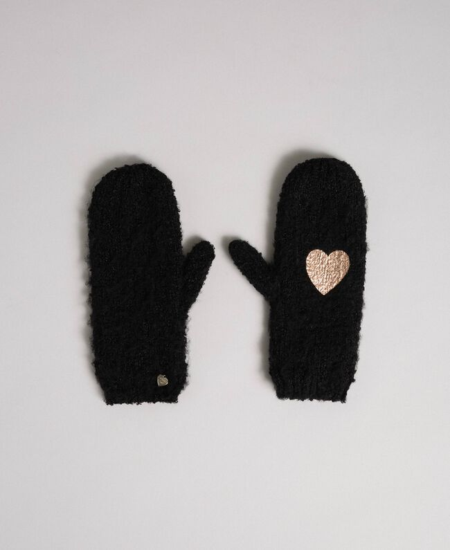 Bouclé yarn mitts with heart Black Woman 192LL4ZAA-01