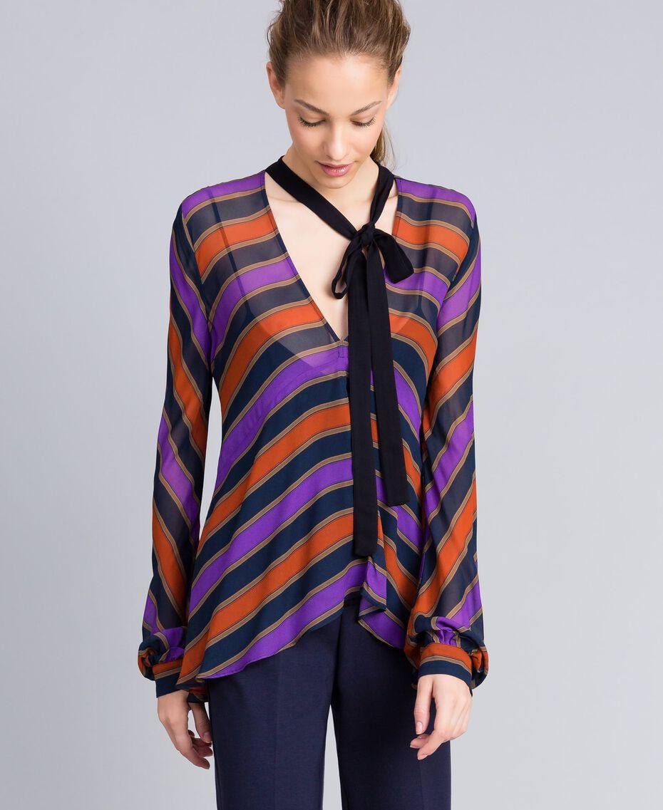 Bluse aus Georgette mit Streifen Streifenprint mehrfarbig Frau TA8292-02