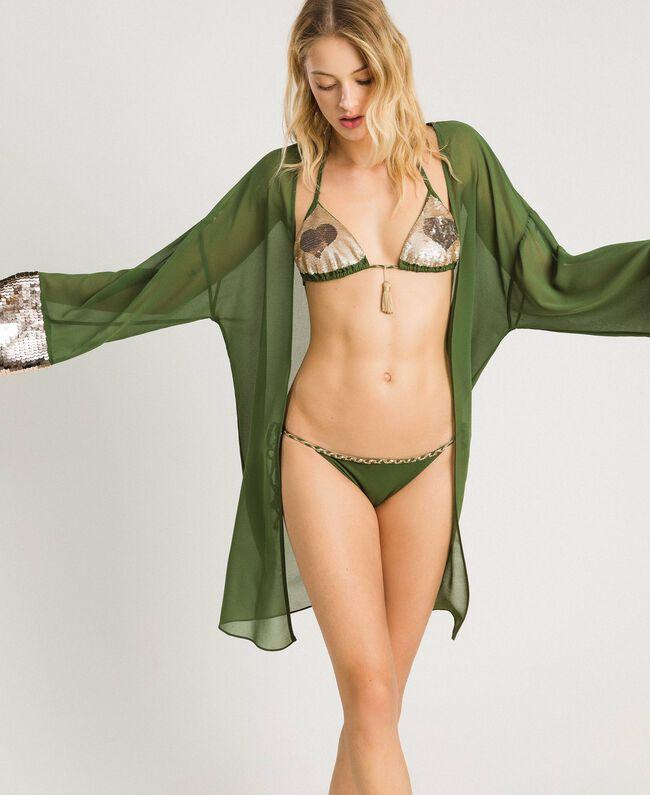 Kimono mit Pailletten Amazonas Grün Frau 191LM2CEE-01