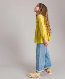 """Voile-Bluse aus Baumwolle mit Stickerei """"Bamboo"""" Gelb Kind 191GJ2350-02"""