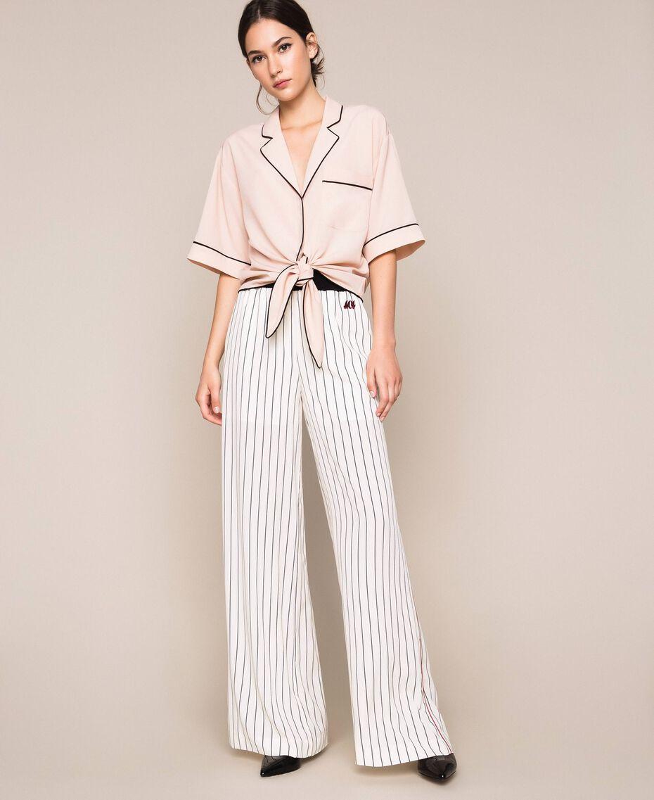 Striped crêpe de Chine trousers Vanilla / Black Stripes Woman 201MP2101-01