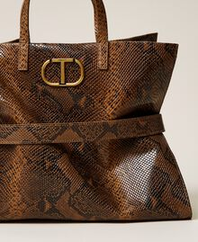 Large Twinset Bag leather shopper Leather Whips Print Woman 212TB7290-02