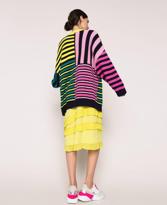 Maxicardigan mit mehrfarbigen Streifen Multicolor Frau 201ST3100-03