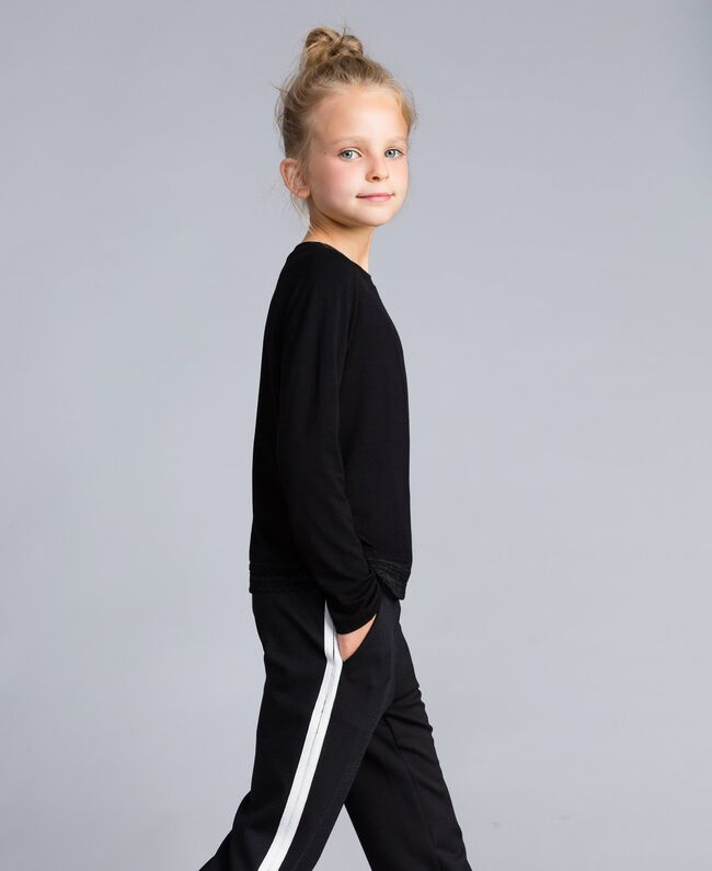 Jersey lace t-shirt Black Child GCN2F3-02