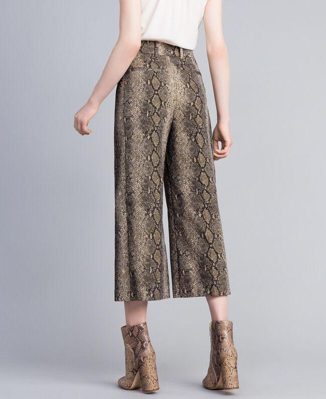 Pantaloni cropped animalier Jacquard Camel Snake Donna PA828P-03