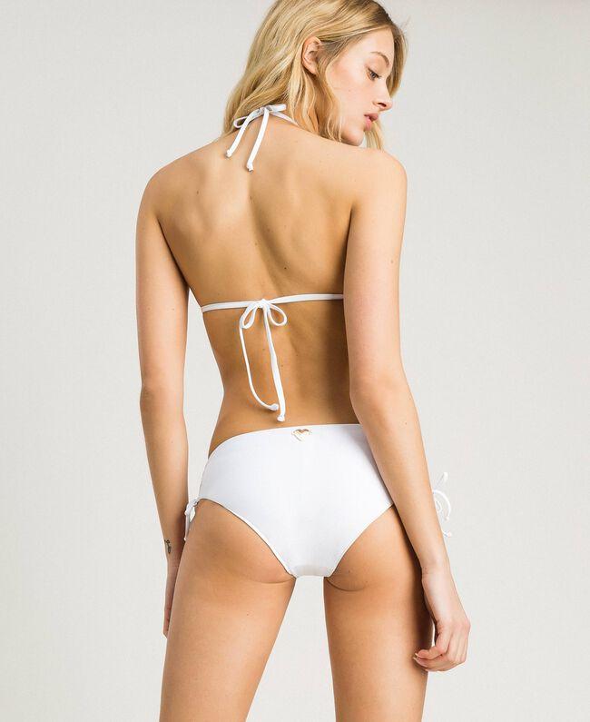 Bikinihose mit Tunnelzug an den Seiten Weiß Frau 191LBME99-03