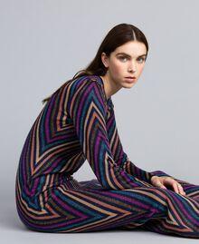 Robe longue jacquard à rayures lurex multicolores Jacquard Rayure Lurex Bleu Femme TA838E-01