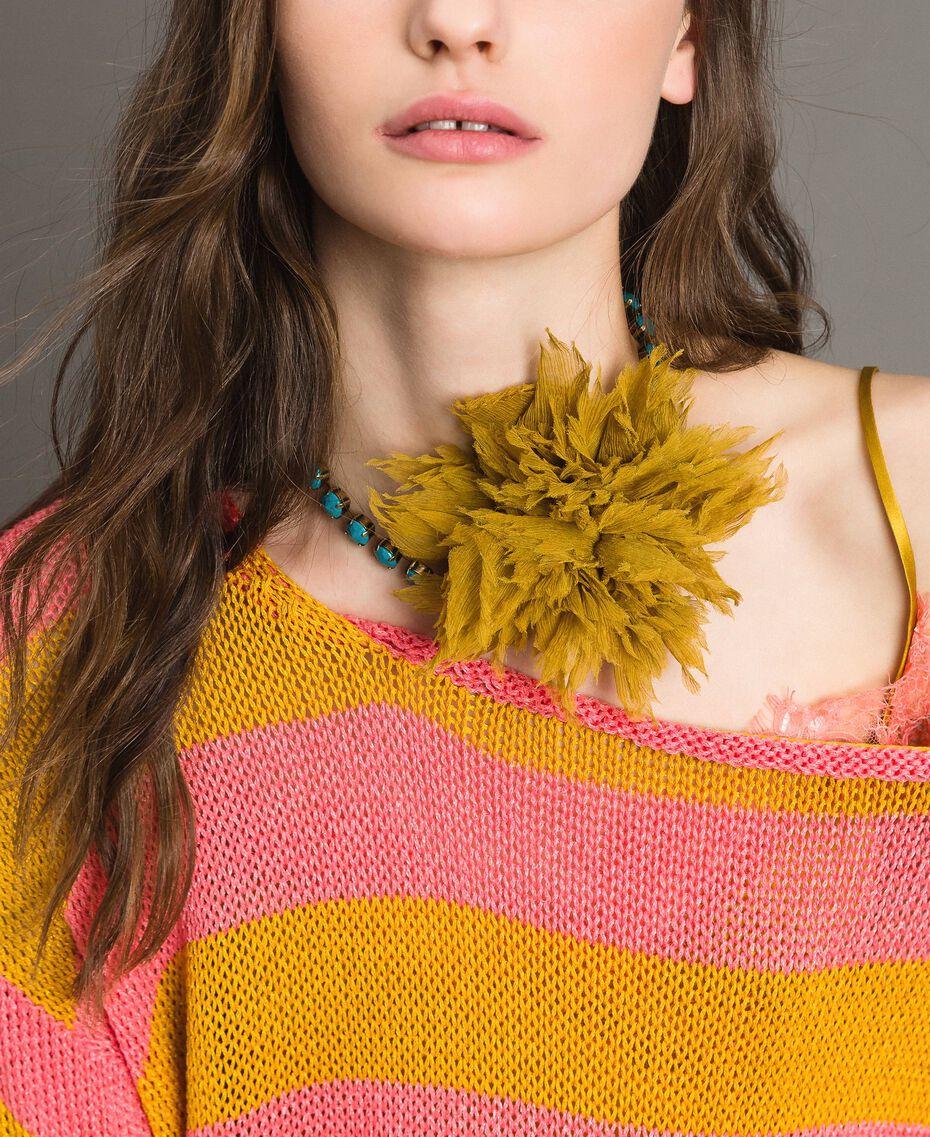 "Strass-Halskette mit Seidenblume ""Honey Gold"" Frau 191TO5343-0S"
