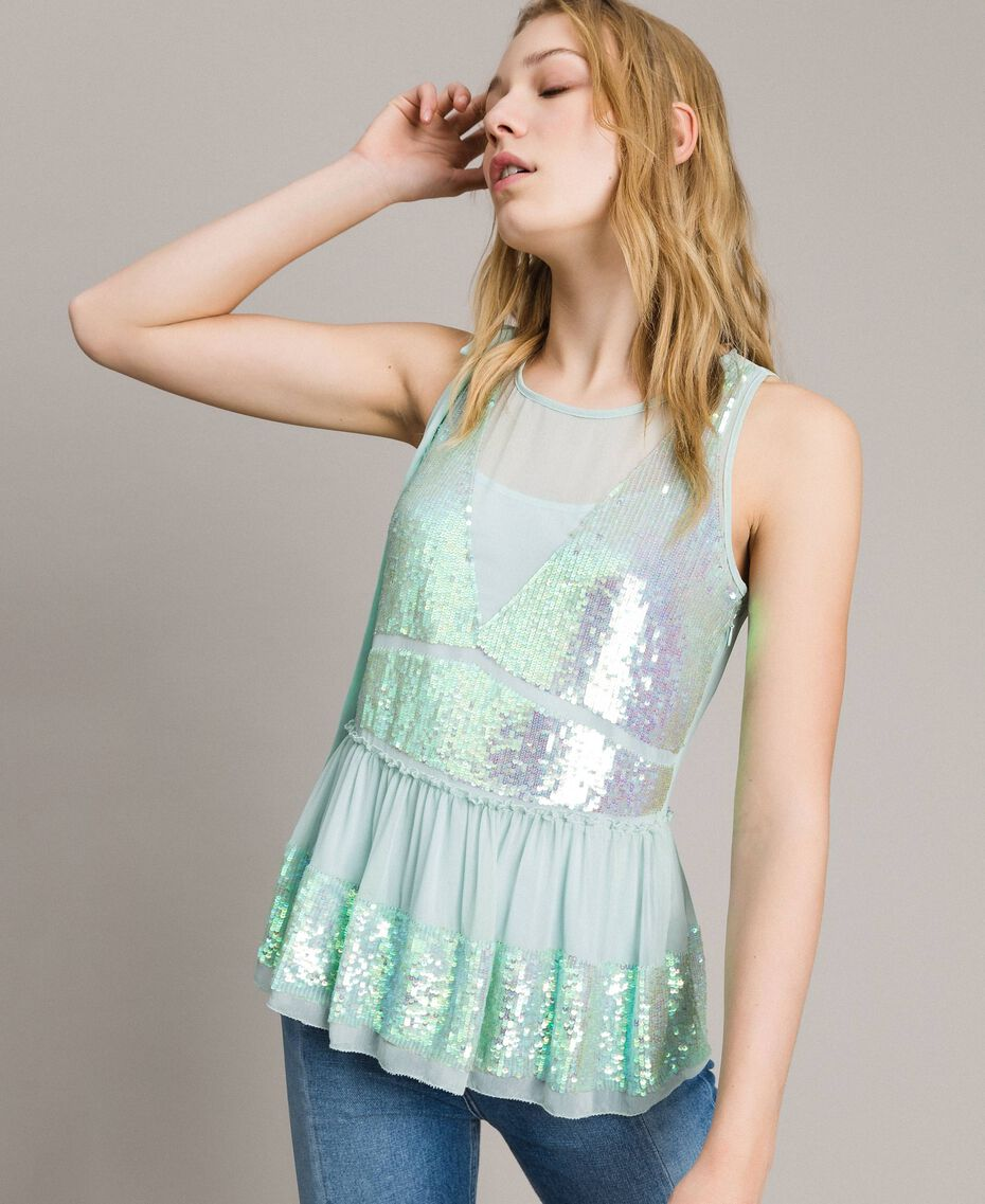 Georgette sequin top Acquamarine Woman 191TP2584-02