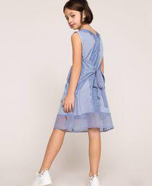 """Kleid aus Crêpe de Chine und Spitze Dunkles """"Ice""""-Blau Kind 201GJ2Q30-04"""