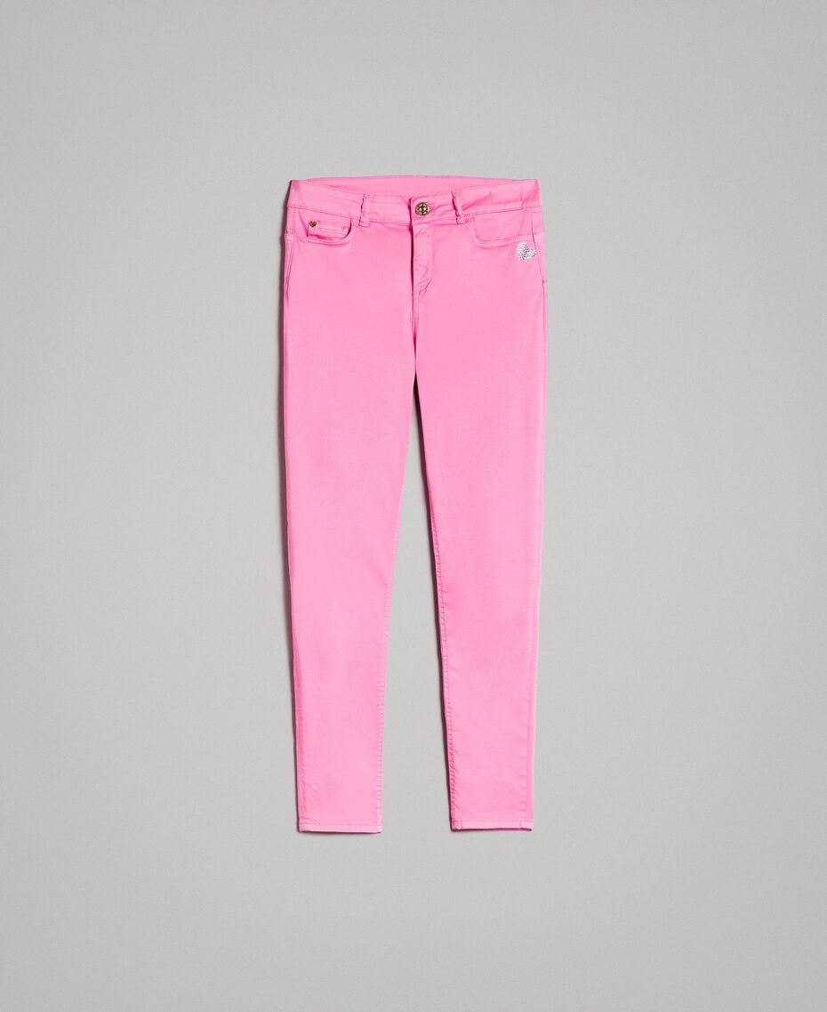 Skinny trousers with rhinestone heart Fluorescent Pink Woman 191MT2446-0S