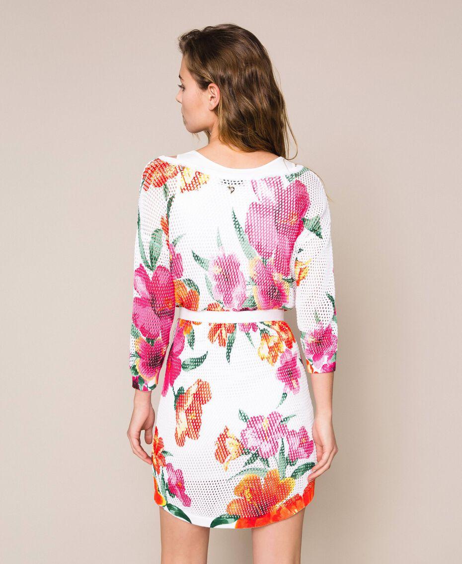 Vestido de punto rejilla estampado Estampado Hibiscus Nieve Mujer 201TT3190-03