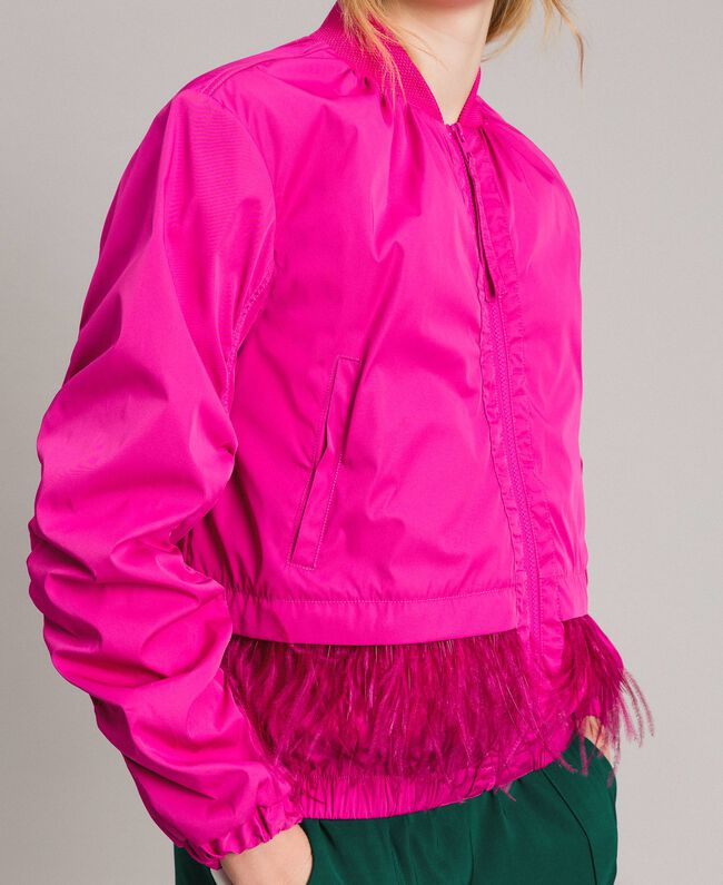 """Technical fabric bomber jacket with feathers """"Electric Pink"""" Fuchsia Woman 191TP2011-04"""