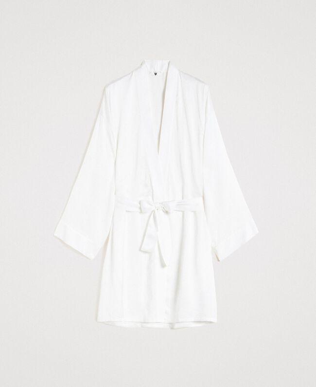 Robe de chambre en satin Ivoire Femme 191LL2DEE-01