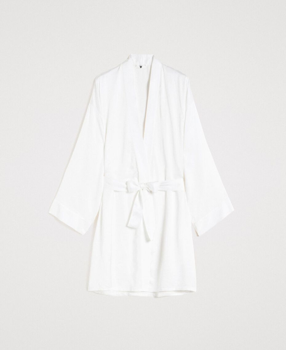 Satin dressing gown Ivory Woman 191LL2DEE-01