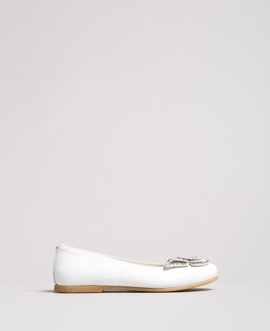 Leather ballerina shoes with butterfly White Child 191GCJ134-02
