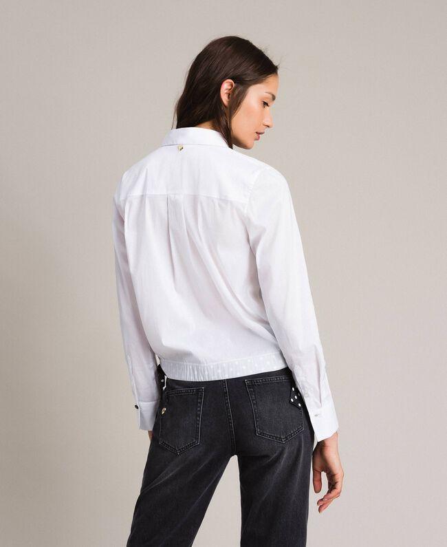 Popeline-Hemd mit Kordelzug White Sahne Frau 191MP2190-04