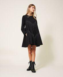 Kleid mit Nieten und Strass Schwarz Frau 202MT2152-02