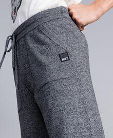 Pantalon de jogging en coton et laine Bicolore Blanc Mat / Noir Homme UA83BC-04
