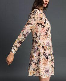 Kleid mit Blumen-Graffiti-Print Blumen-Graffiti-Print Vanille Frau 192MP222K-02