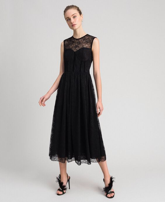 Длинное платье из тюля и кружева стрейч