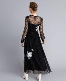 Long Valencienne lace dress Black Woman PA824Q-03