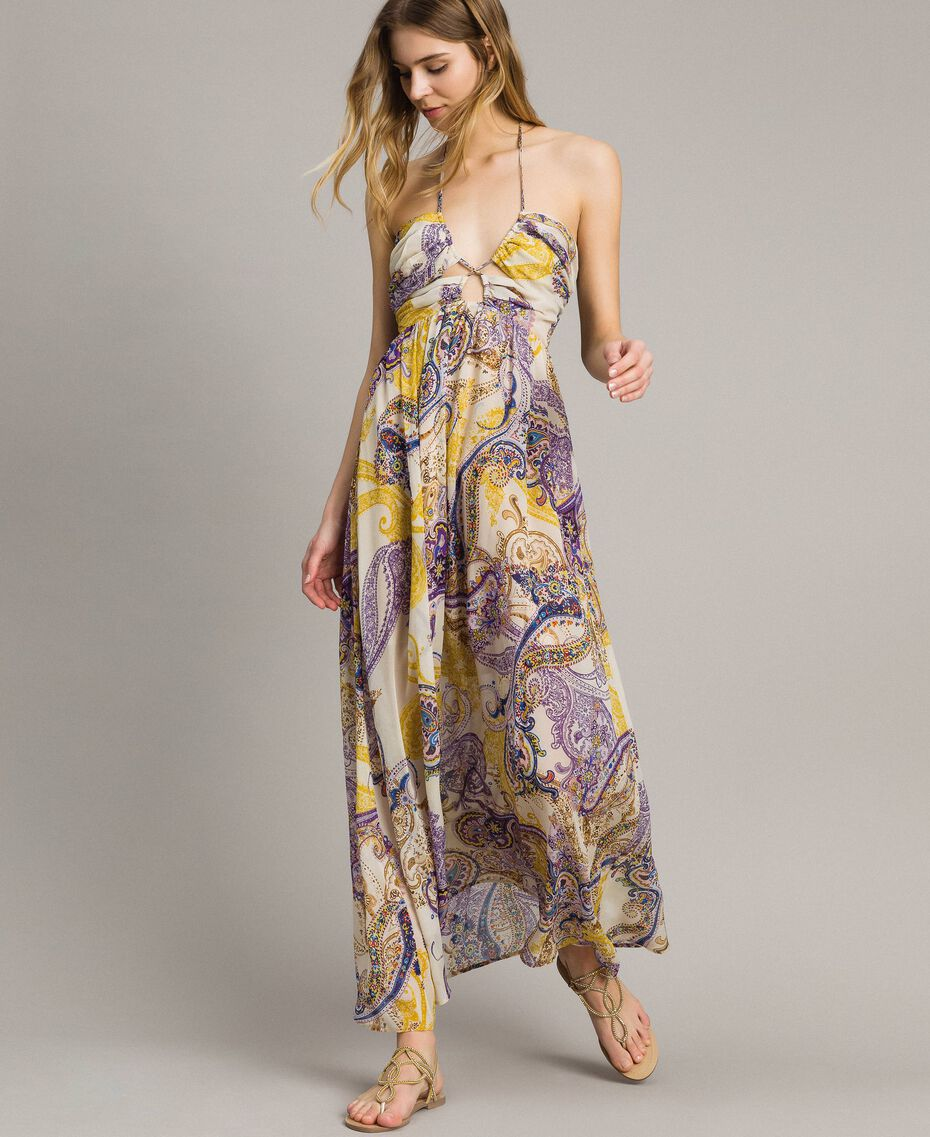 """Long dress with paisley pattern """"Milkyway"""" Beige / Paisley Print Woman 191LM2SLL-02"""
