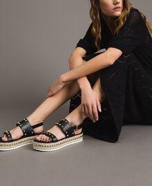 Sandales compensées à clous Noir Femme 191MCP230-0S