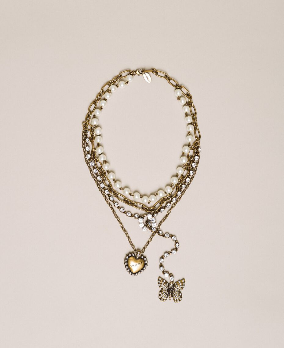 """Multi-round necklace with pearls, chains and rhinestones """"Aged Coppery Brass"""" Gold Woman 201TA430C-01"""
