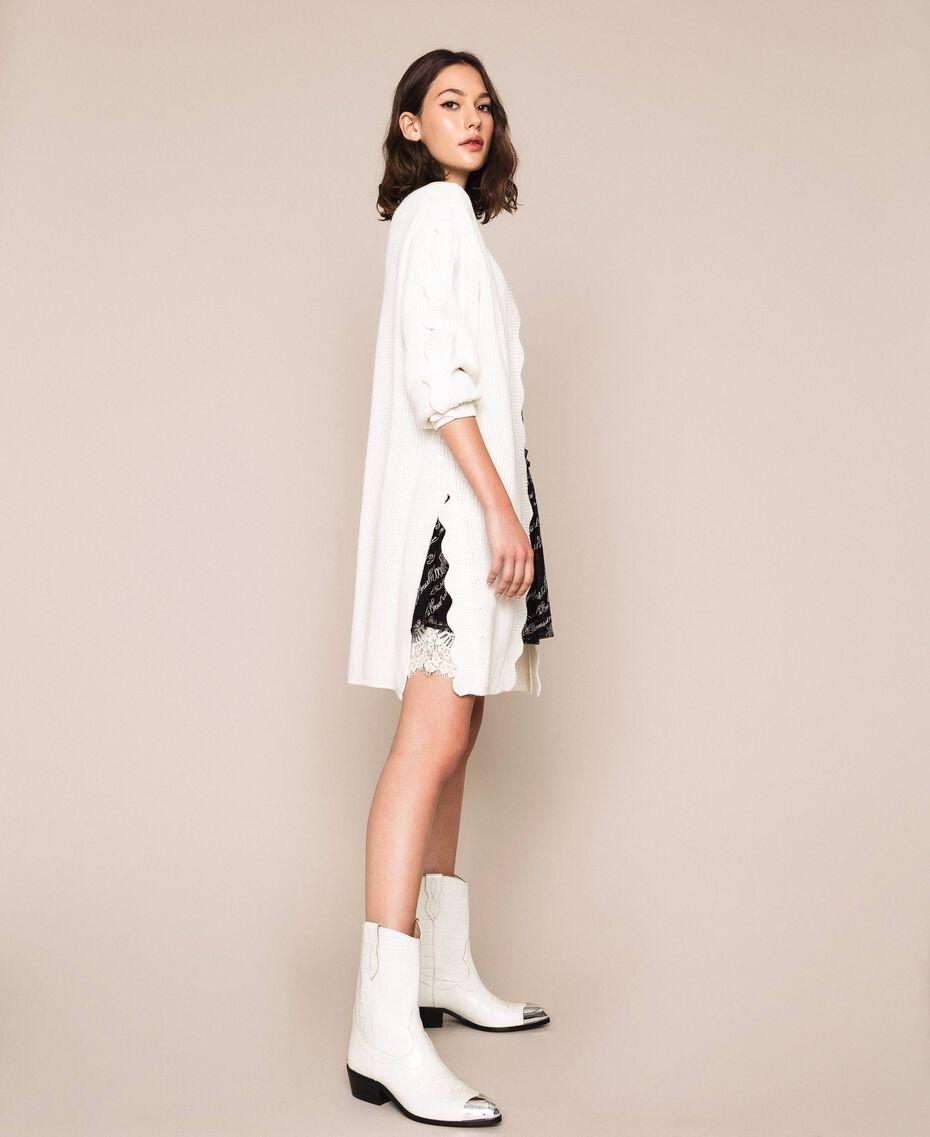 Maxi cardigan avec festons Blanc Neige Femme 201TP3020-01