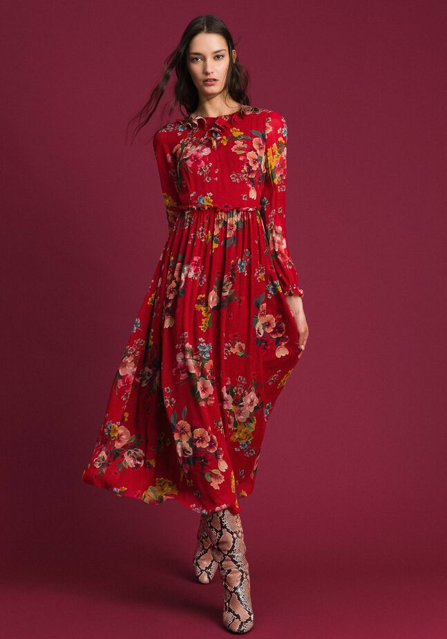 Georgette long dress with floral print