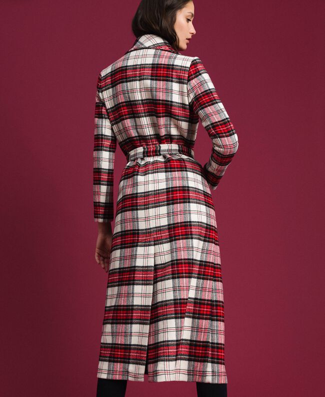 Manteau long en laine à carreaux Jacquard Grand Tartan Femme 192TP2611-04