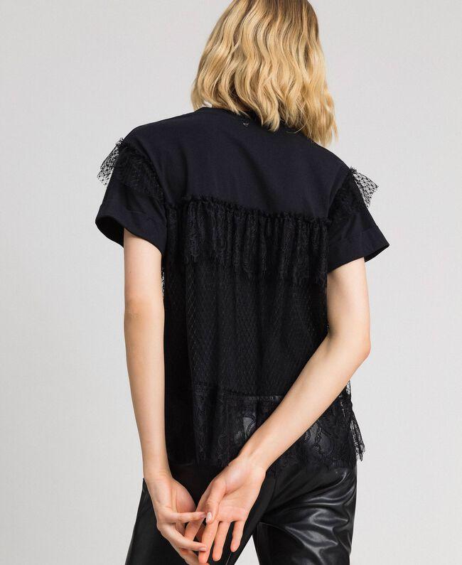 Valenciennes lace flounce blouse Black Woman 192TP2330-03