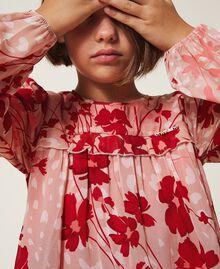 Bluse aus Georgette mit Blumendessin Blumen-Animal-Dessin Pfirsich / Kirschrot Kind 202GJ262B-04