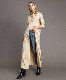 Langes Hemdblusenkleid aus Popeline Porzellan Beige Frau 191MP2210-01