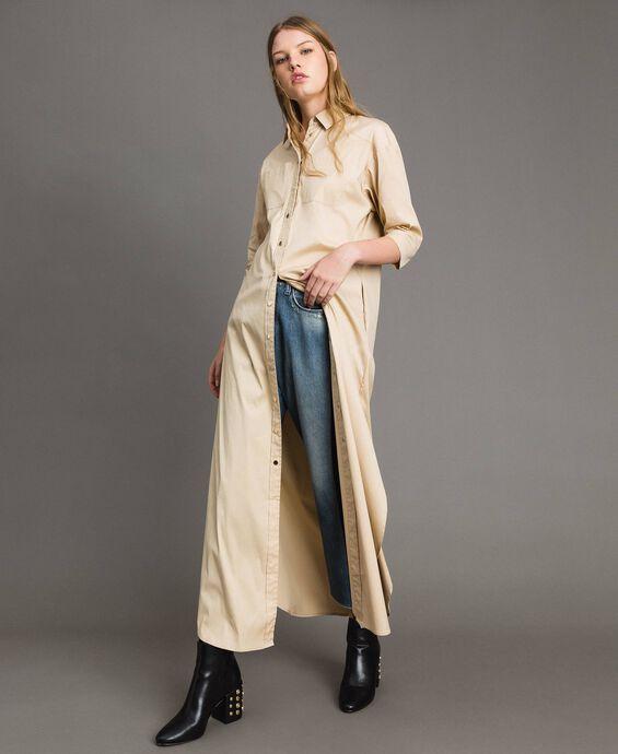 Poplin long shirt dress