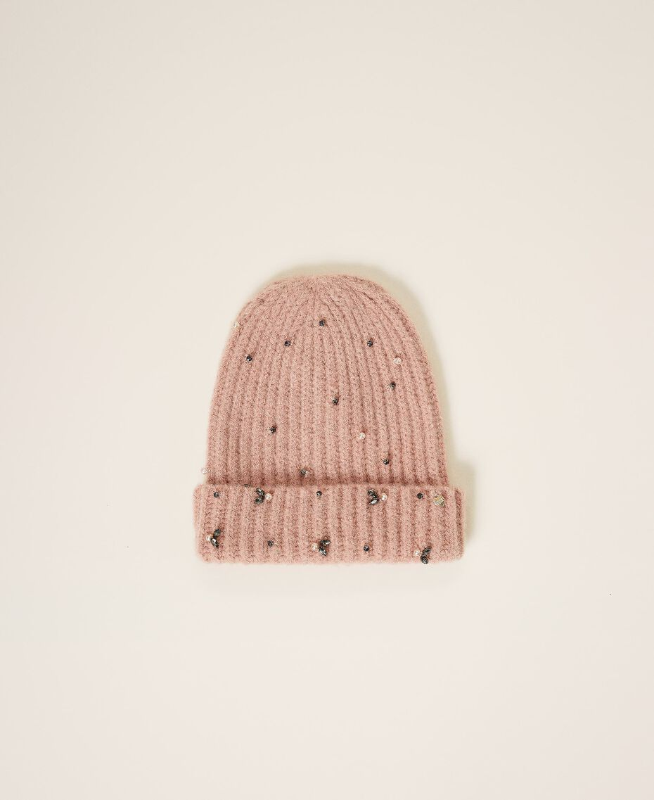 """Knit beanie with pearls and bezels """"Intense Nude"""" Pink Woman 202TO5110-01"""
