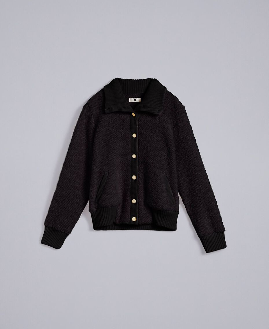 Wool blend bouclé bomber jacket Black Woman IA87DD-0S