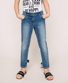 """Jeans skinny con logo Blu """"Denim Medio"""" Bambina 201GJ2375-02"""