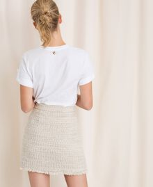 Bouclé fabric short skirt Multicolour Ivory / Silver Grey Woman 201TP2245-04
