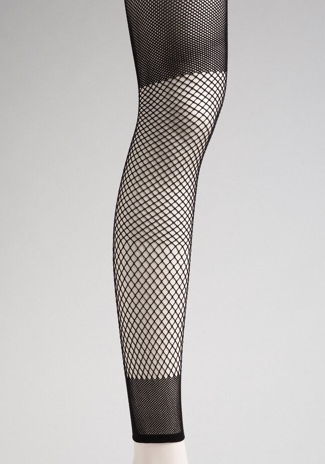 Leggings with mixed mesh motif