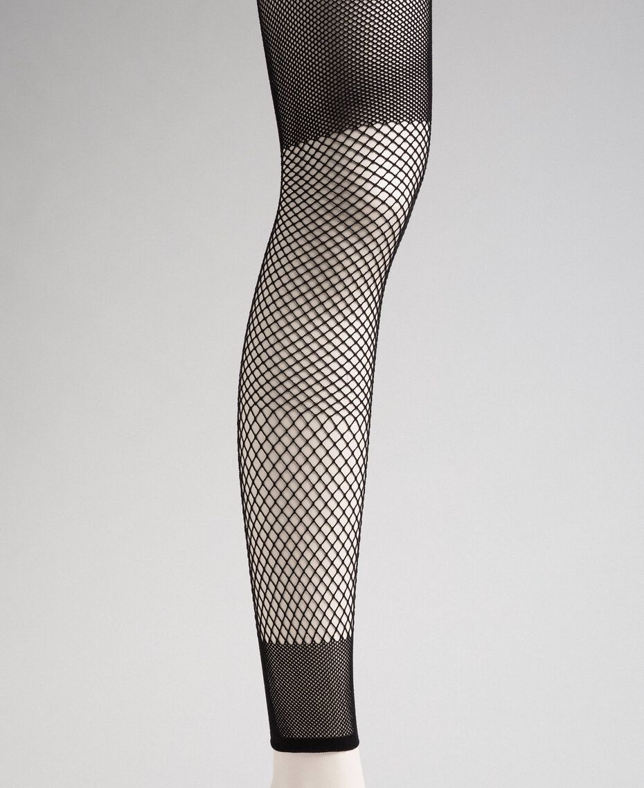 Leggings with mixed mesh motif Black Woman 192TA432C-01