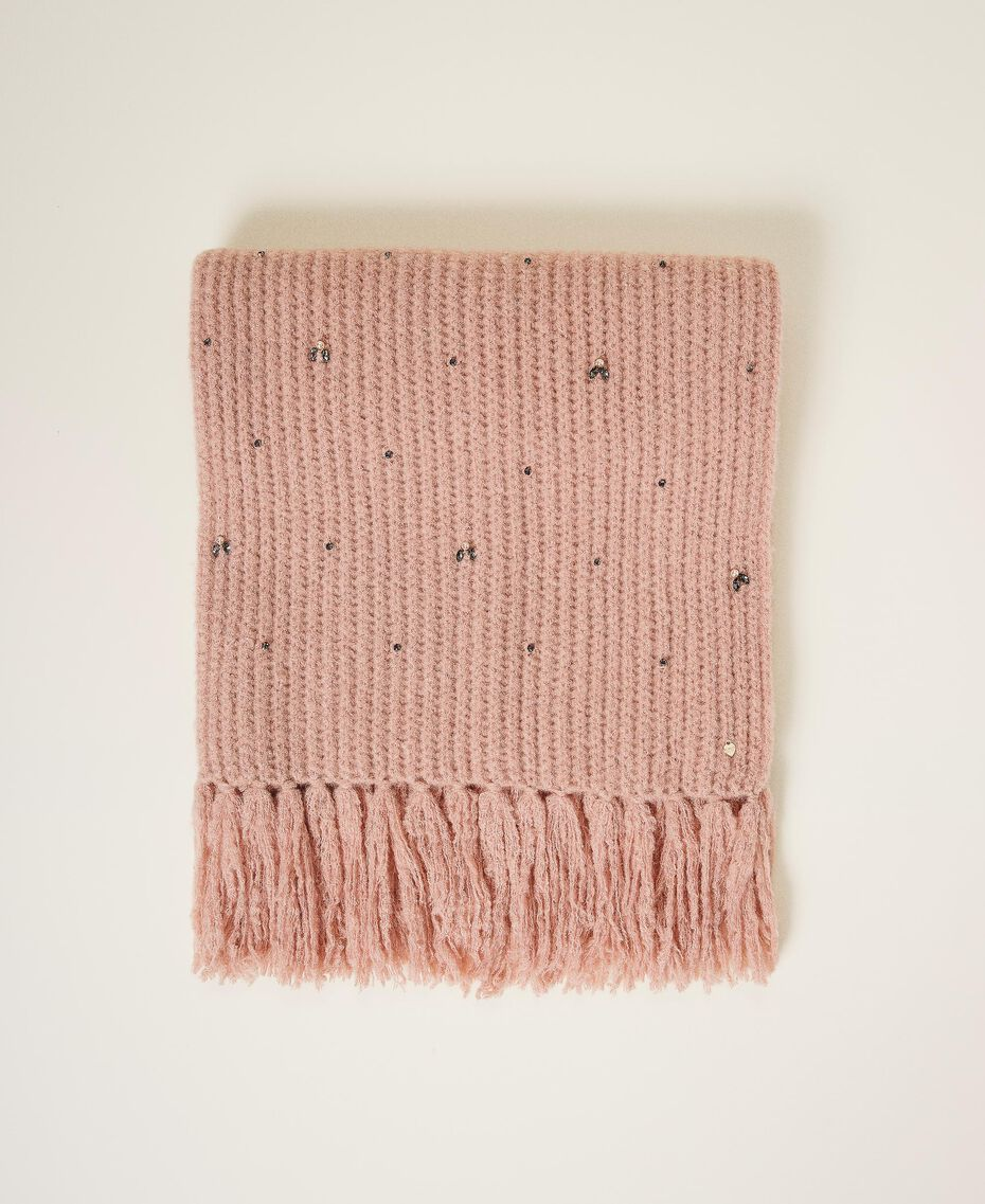 "Knit scarf with pearls and bezels ""Intense Nude"" Pink Woman 202TO5111-01"